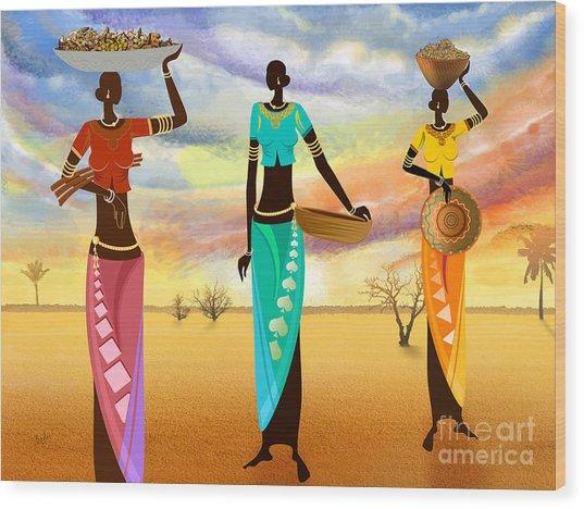 Masai Women Quest For Grains Wood Print