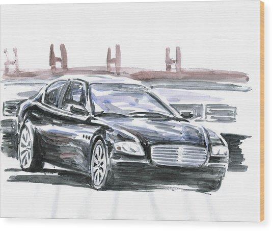 Maserati Quattroporte Wood Print by Ildus Galimzyanov