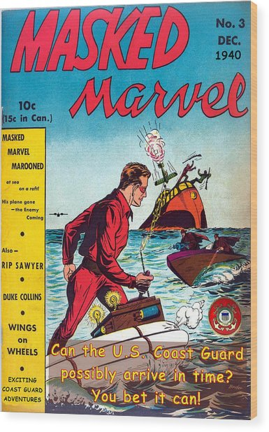 Masked Marvel And The Coast Guard Wood Print