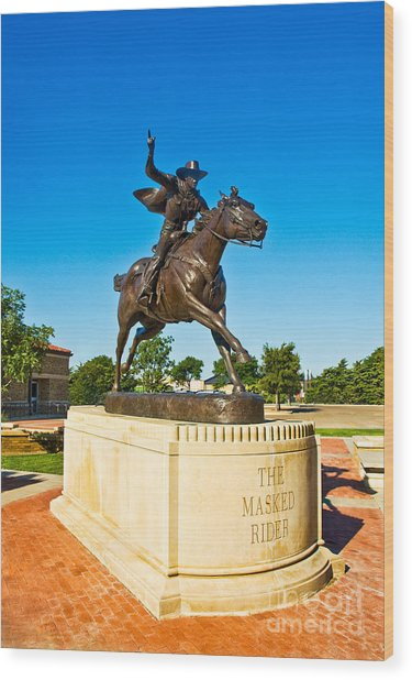 Wood Print featuring the photograph Masked Rider Statue by Mae Wertz