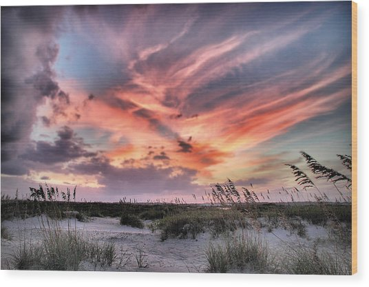 Masonboro Inlet September Sunset Wood Print
