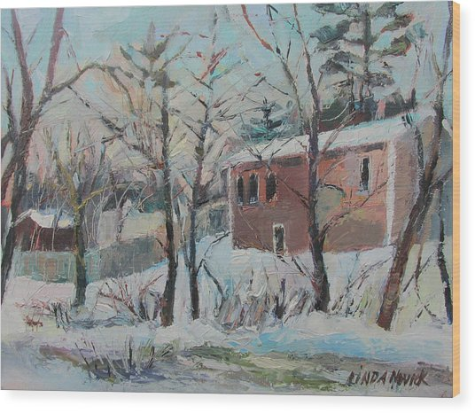 Massachusetts Snowfall Wood Print