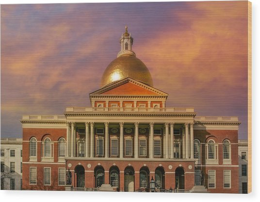 Massachusetts State House Wood Print