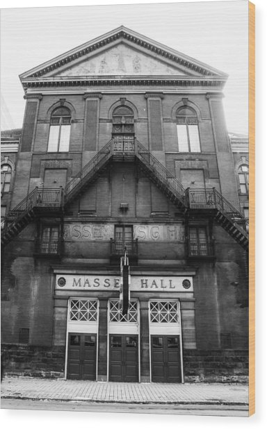 Wood Print featuring the photograph Massey Hall - Front Facade - Black And White by Rosemary Legge