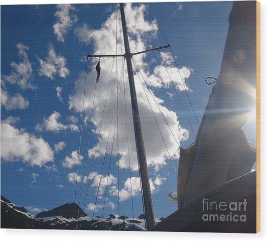 Mast And Sky Wood Print