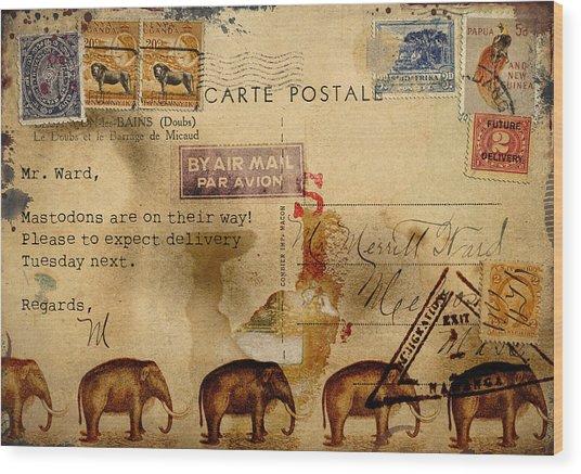 Mastodons Are On Their Way Wood Print