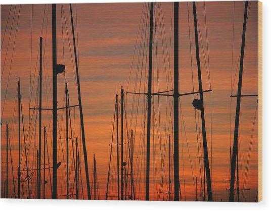 Masts At Sunset Wood Print