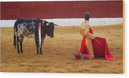 Matador Kneeling  Wood Print by Dave Dos Santos