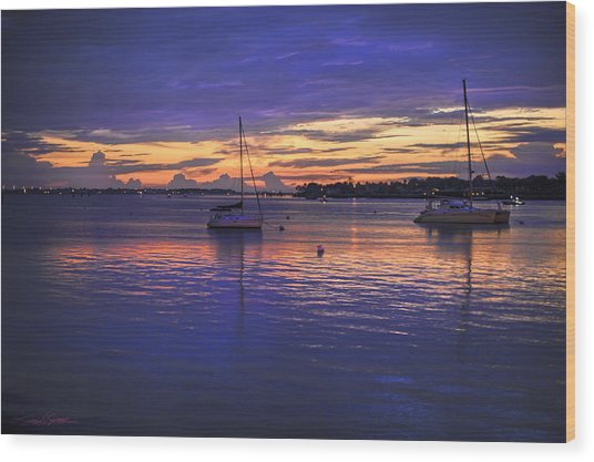Matanzas Bay Sunrise Wood Print