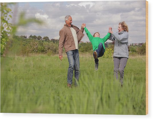 Mature Couple Swinging Grandchild In Wood Print by Bloom Productions