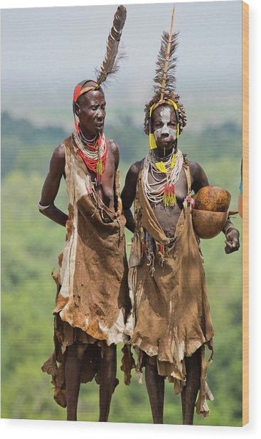 Mature Karo Tribe Women Wood Print by Photostock-israel