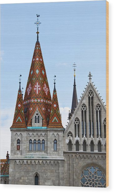 Matyas Church With Glazed Tiles In Budapest Hungary Wood Print