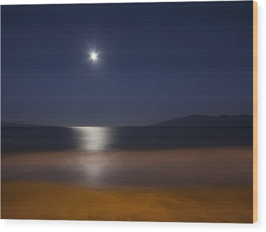 Maui Moonset Wood Print