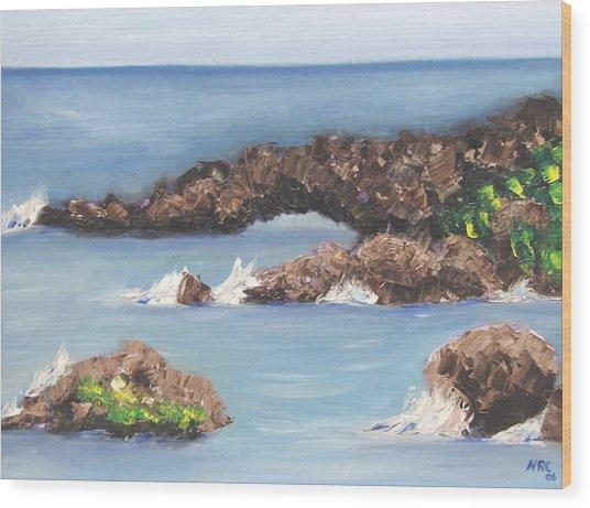 Maui Rock Bridge Wood Print
