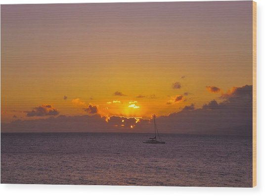 Maui Sailboat Sunset Wood Print