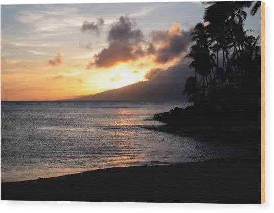 Maui Sunset - Napilli Beach Wood Print