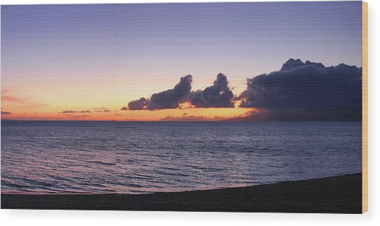Maui Sunset Panorama Wood Print