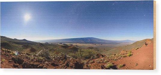 Mauna Loa Moonlight Panorama Wood Print