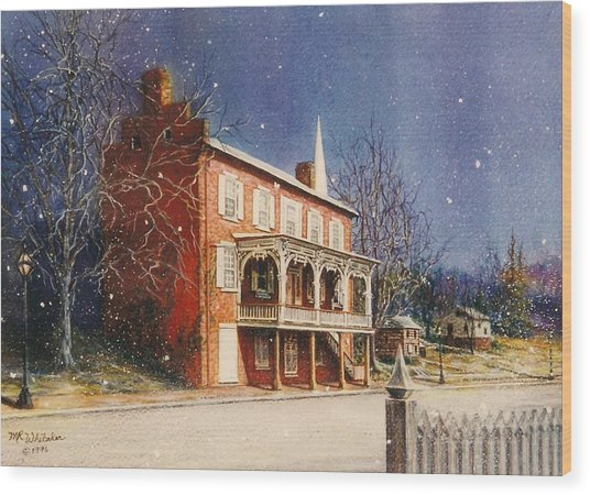 May House In Winter Wood Print