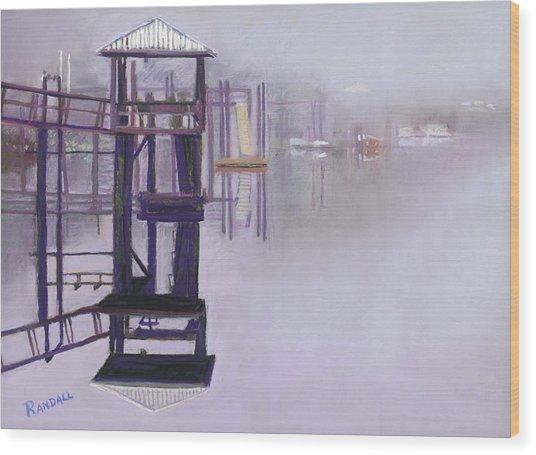 May River Fog Wood Print
