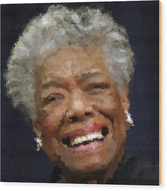 Maya Angelou Portrait Wood Print