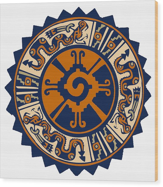 Mayan Hunab Ku Wood Print
