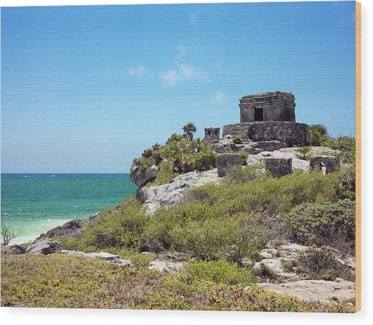 Mayan Temple Wood Print by Daniel Sambraus/science Photo Library