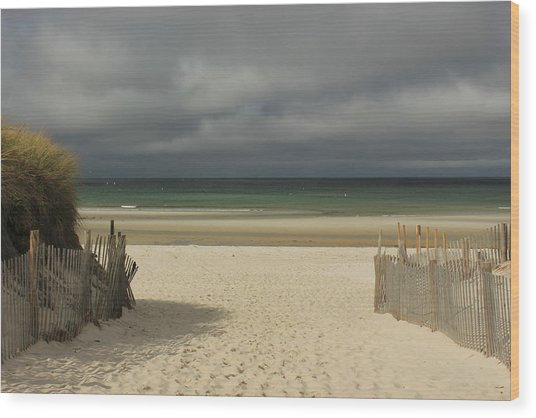 Mayflower Beach Storm Wood Print