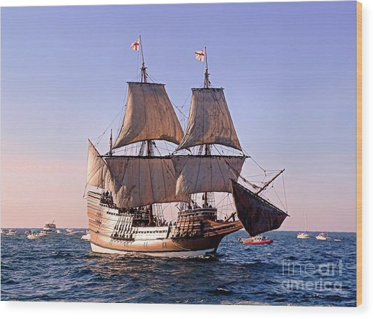 Mayflower II On Her 50th Anniversary Sail Wood Print