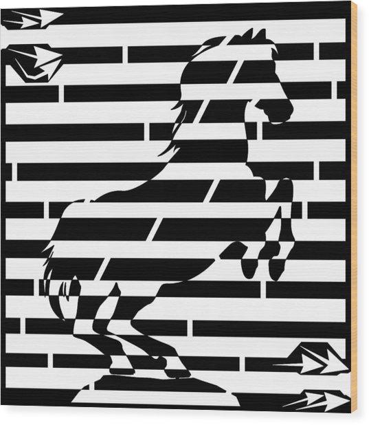 Maze Of 746 Watts 1 Horsepower Maze  Wood Print by Yonatan Frimer Maze Artist