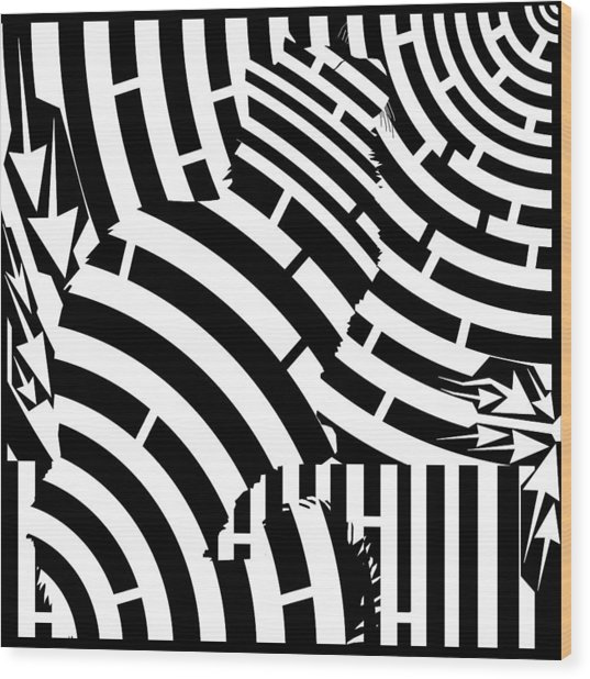 Maze Of Cat On Fence Op Art Wood Print by Maze Op Art Artist