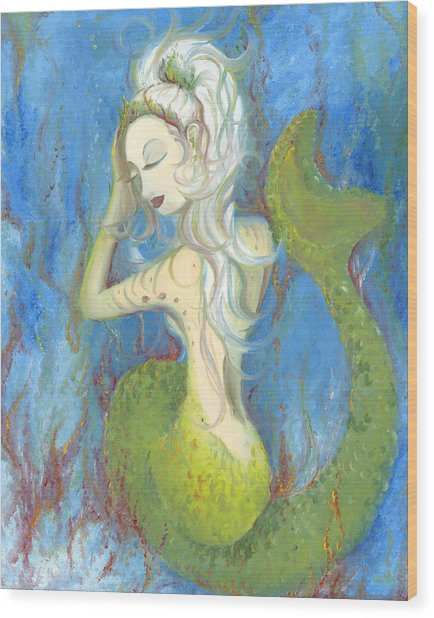 Mazzy The Mermaid Princess Wood Print
