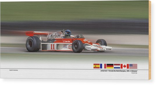 Mc Laren M23 Hunt Wood Print