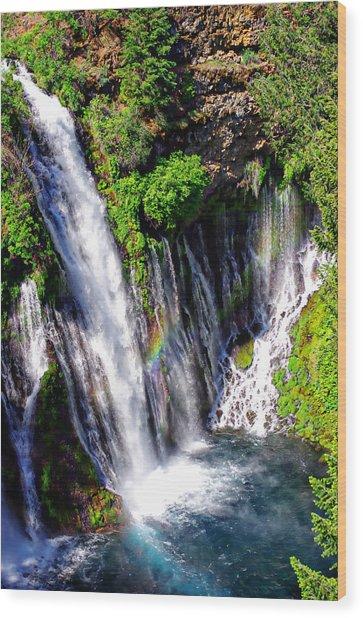Mcarthur Burney Falls Rainbow Wood Print