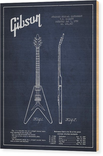 Mccarty Gibson Electric Guitar Patent Drawing From 1958 - Navy Blue Wood Print