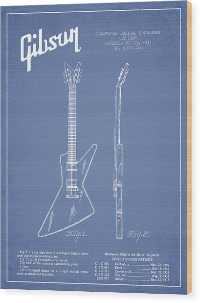Mccarty Gibson Electrical Guitar Patent Drawing From 1958 - Light Blue Wood Print