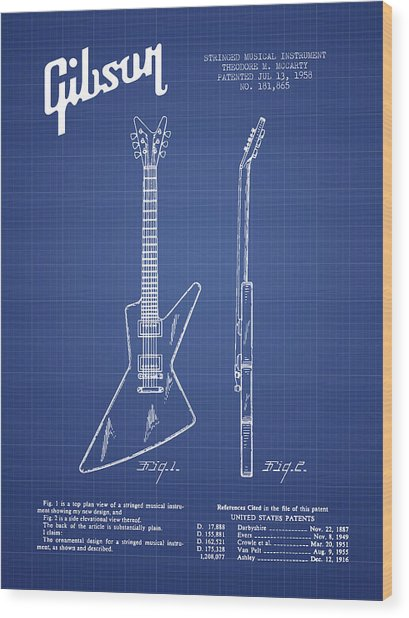 Mccarty Gibson Electrical Guitar Patent From 1958 - Blueprint Wood Print