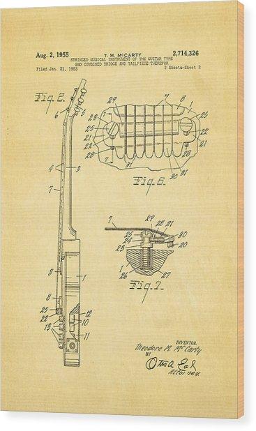 Mccarty Gibson Les Paul Guitar 2 Patent Art 1955 Wood Print by Ian Monk