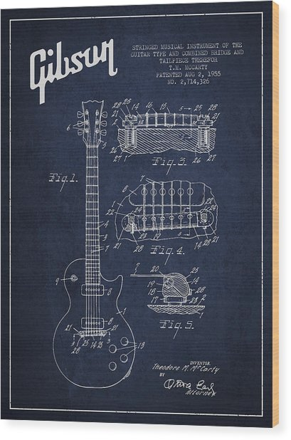 Mccarty Gibson Les Paul Guitar Patent Drawing From 1955 - Navy Blue Wood Print