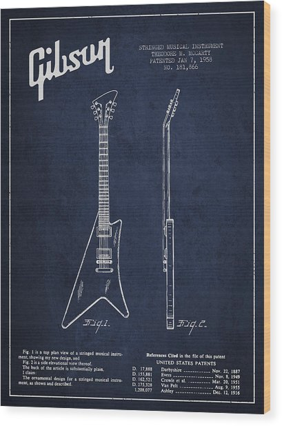 Mccarty Gibson Stringed Instrument Patent Drawing From 1958 - Navy Blue Wood Print