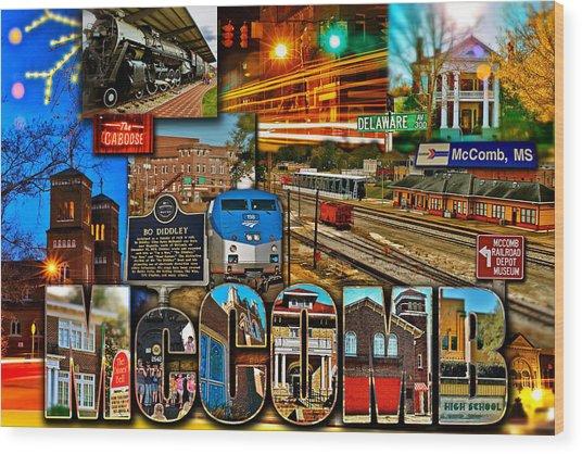 Mccomb Mississippi Postcard 2 Wood Print