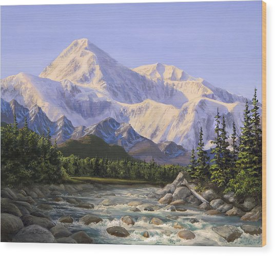 Majestic Denali Mountain Landscape - Alaska Painting - Mountains And River - Wilderness Decor Wood Print