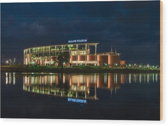 Mclane Stadium At Night Wood Print
