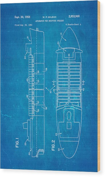 Mclean Shipping Container Patent Art 1958 Blueprint Wood Print