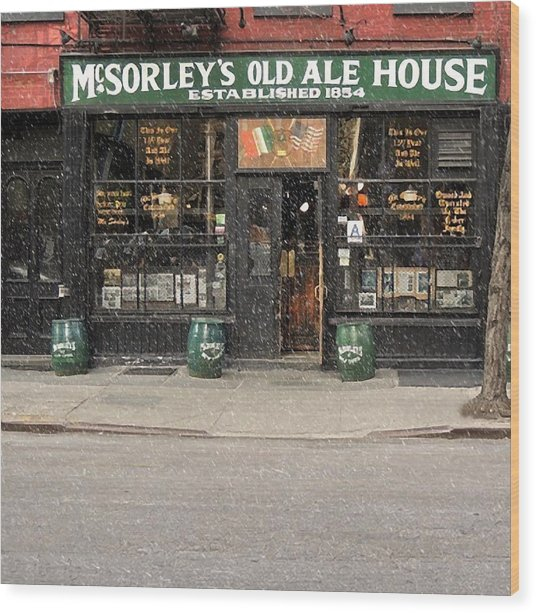 Mcsorley's Old Ale House During A Snow Storm Wood Print