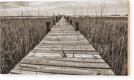 Mcteer Dock - Sepia Wood Print