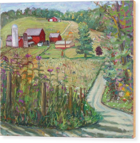Meadow Farm Wood Print