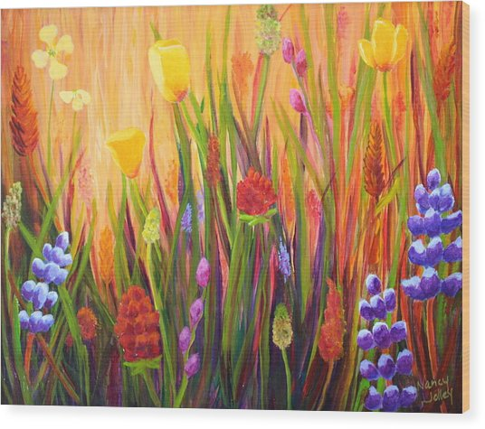 Meadow Gold Wood Print