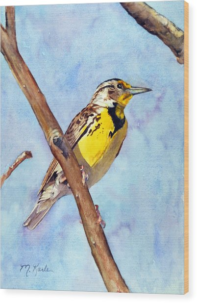 Meadowlark Sunrise Wood Print