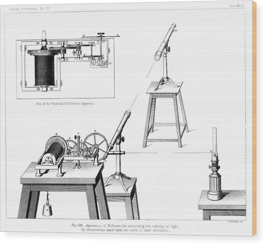 Measuring The Speed Of Light Wood Print by Royal Astronomical Society/science Photo Library